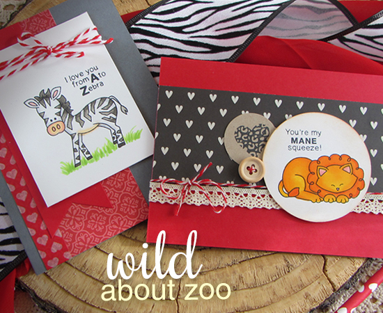 Zoo Animal Valentine Cards by Jennifer Jackson | Newton's Nook Designs | Wild about Zoo Stamp Set