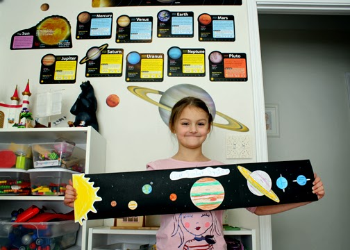 "Tessa created this out-of-this-world planet chart with the Evan-Moor ""Put the Planets in Order"" lesson from above. She painstakingly colored the planets and then pasted them in order on black cardstock (several pieces taped together). She also drew the sun."