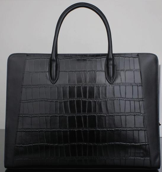 2-tone black genuine leather casual upscale briefcase for men
