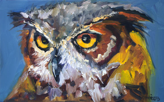 Diane whitehead art out west not a painting a day owl for Animal oil paintings