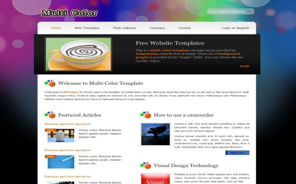 Free Web2.0 Colorful HTML CSS Website Template
