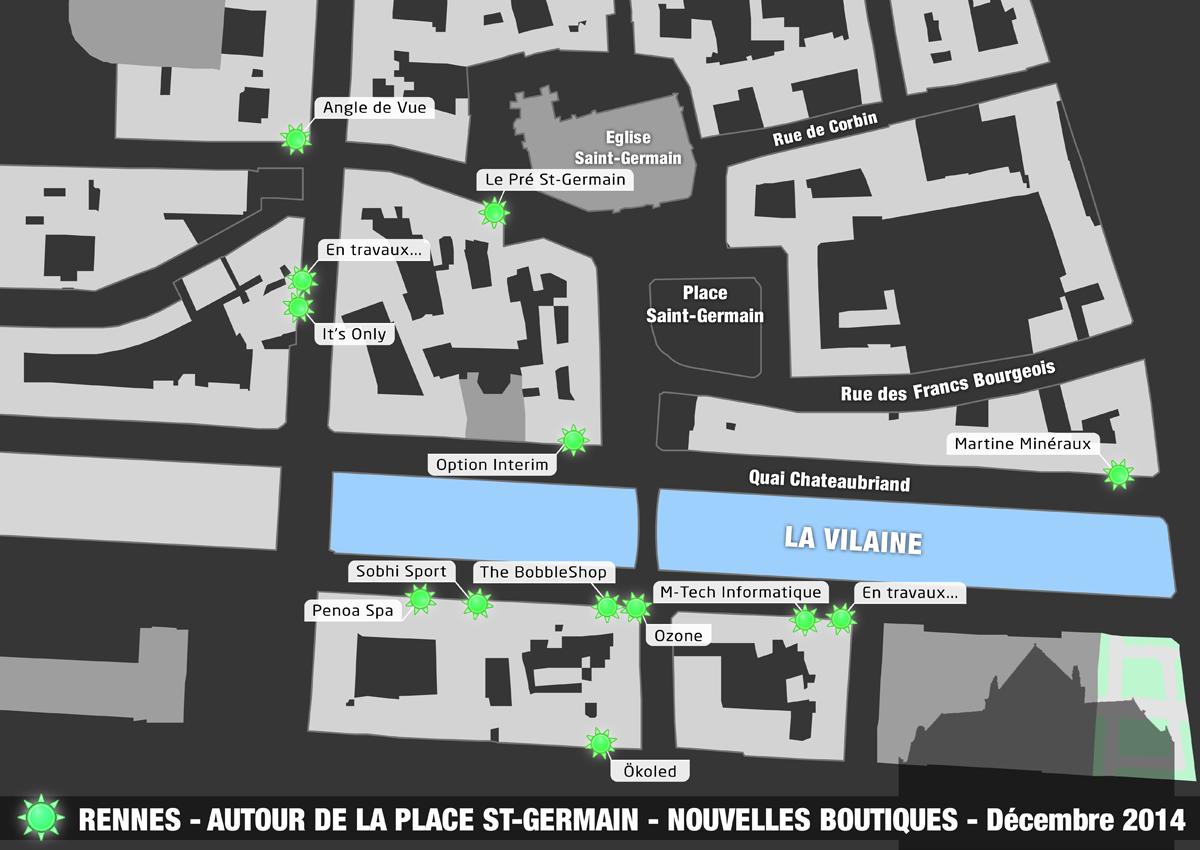 Plan de la Place Saint-Germain : les nouvelles boutiques !