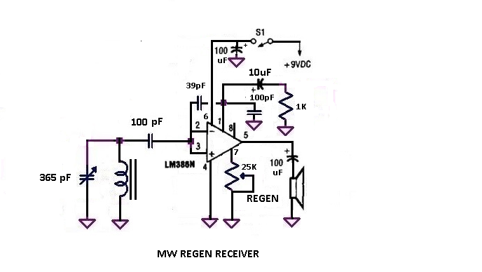 regenerative receiver based entirely on the lm386
