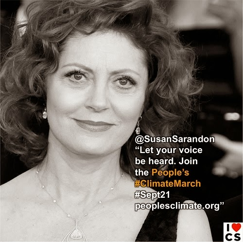 """@Susan Sarandon """"Let your voice be heard.  Join the People's #Climate March #Sept 21 peoplesclimate.org"""" (Credit: www.facebook.com/iheartcomsci)"""
