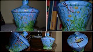 staklena zdjela ukrašena dekupažom