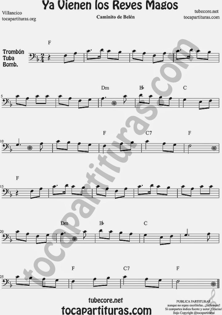 Ya vienen los Reyes Magos Partitura de Trombón, Tuba Elicón y Bombardino Sheet Music for Trombone, Tube, Euphonium Music Scores Villancico Popular