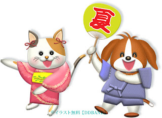 犬と猫の可愛いキャラが盆踊りするイラスト