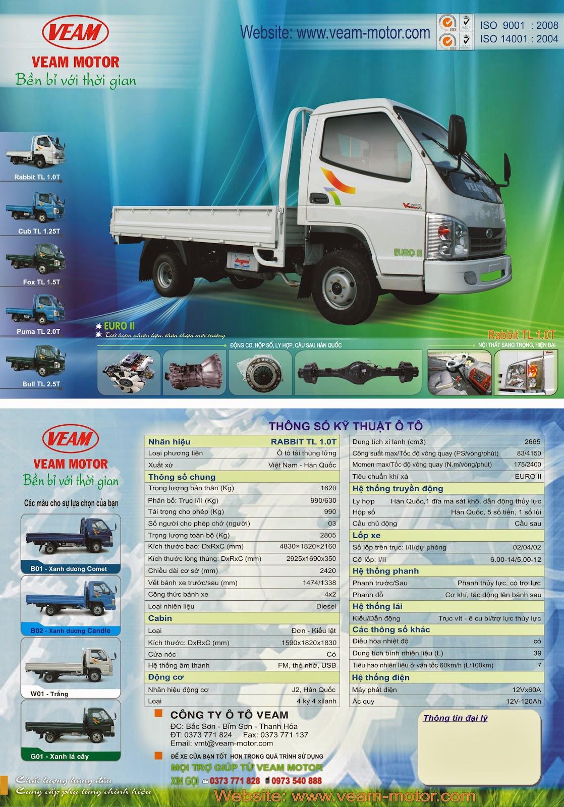 thông số xe tải 1 tấn Veam Rabbit TL 1.0T