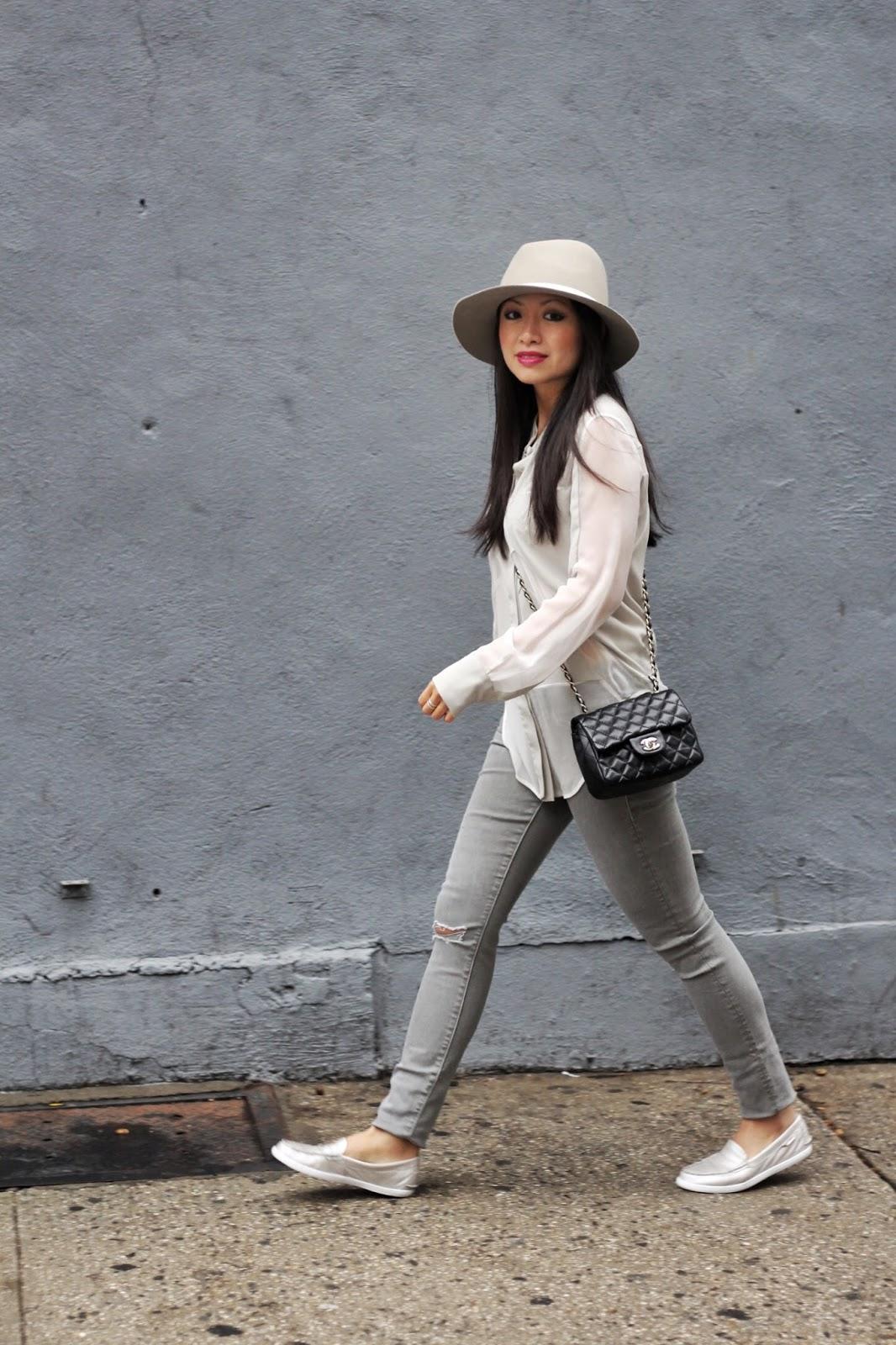 Gray IRO blouse Zara coat Cole Haan nantucket loafer Rag & Bone fedora hat