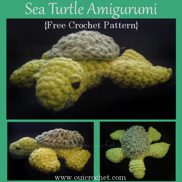 This crochet Sea Turtle Amigurumi is inspired by the Monterey Bay Aquarium in Monterey, CA. The free pattern is designed by Oui Crochet. #OuiCrochet