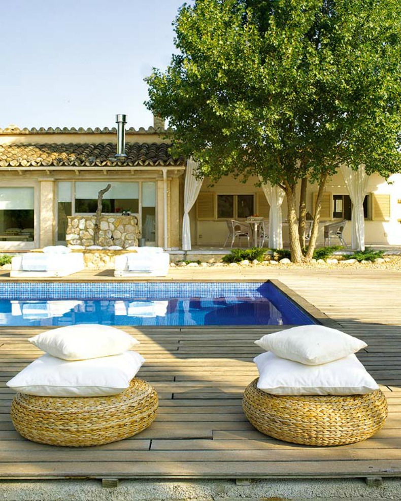 Coastal outdoor space by the pool
