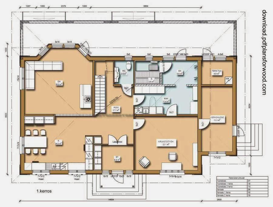 Plano de planta de una casa residencial de madera