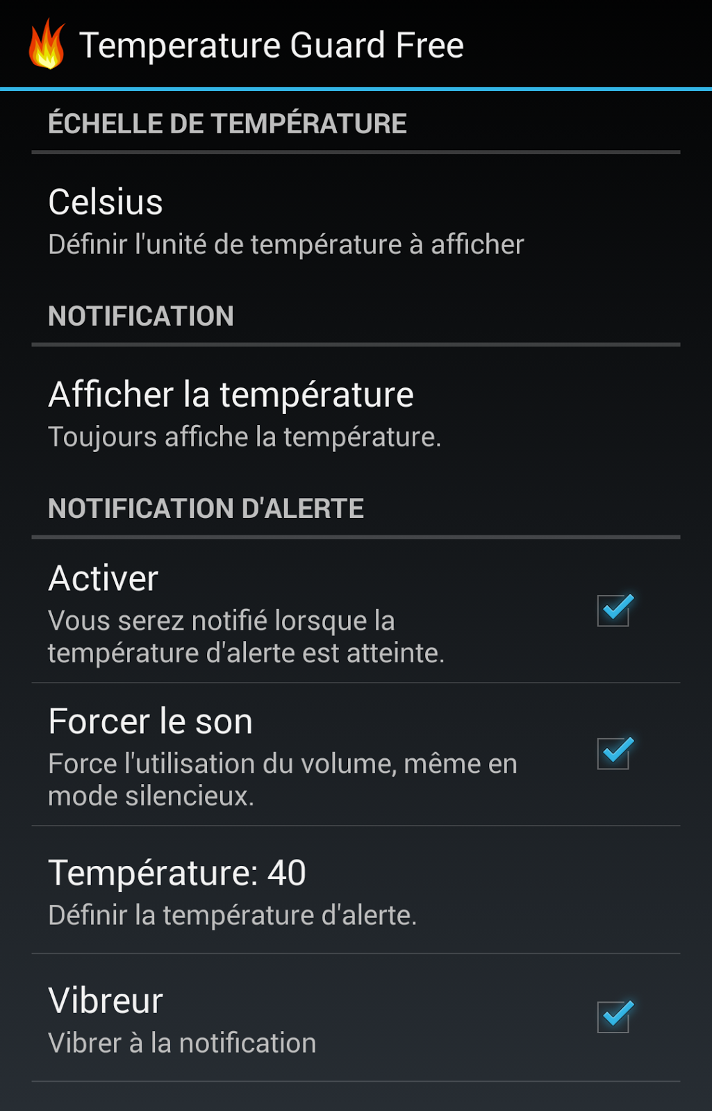 android temperature guard french