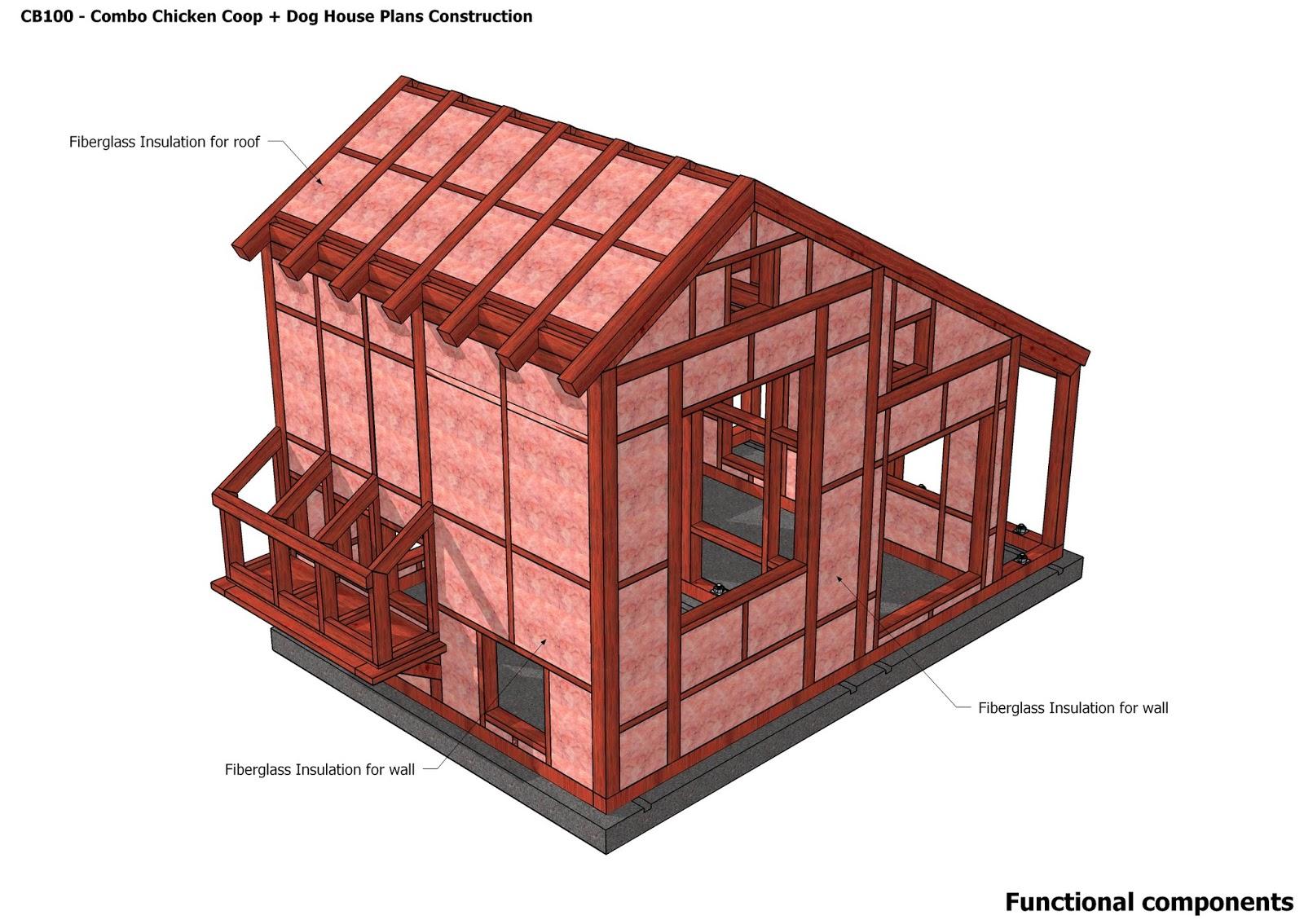 Home garden plans cb100 combo plans chicken coop for Dog kennel floor plans