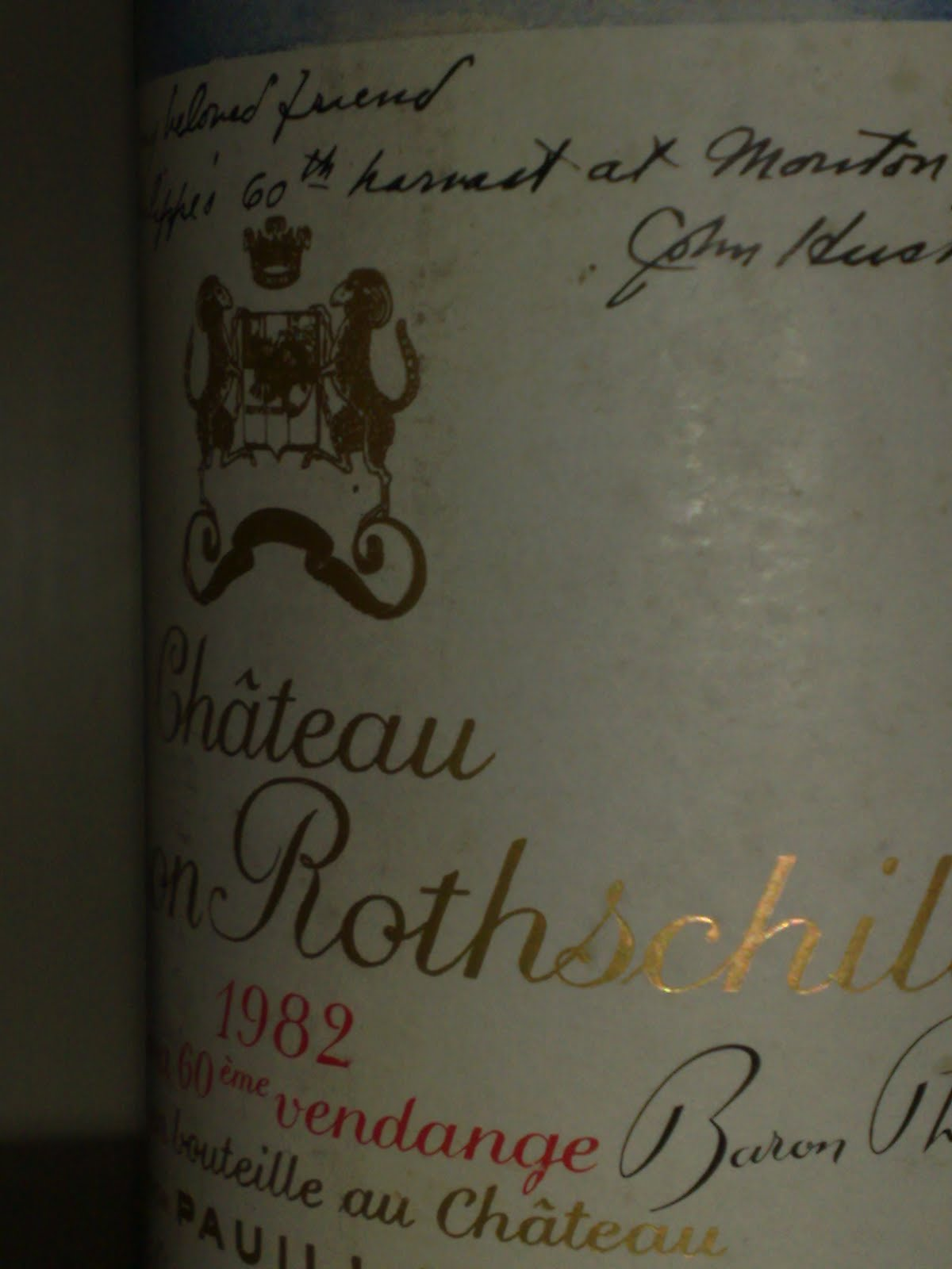 1982 Chteau Mouton Rothschild Ruby Garnet Rim Im Not Sure If Its The Day Root Or Fruit Whatever But Every Bottle Other Than Chablis Seems