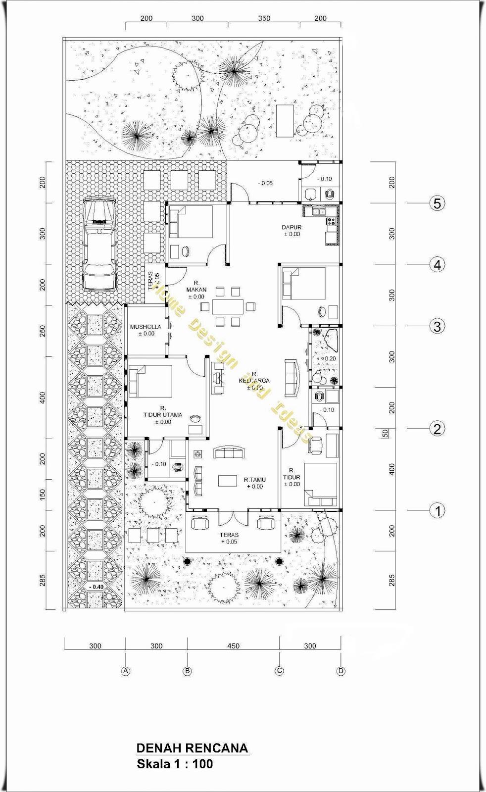 denah rumah ukuran 10 5 m x 17 m dengan tanah uk 13 5 m x