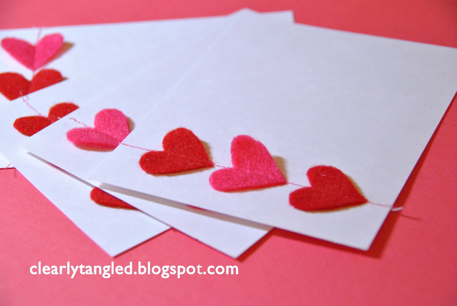 Clearlytangled Stitched Felt Heart Valentines Cards Ways To Rid