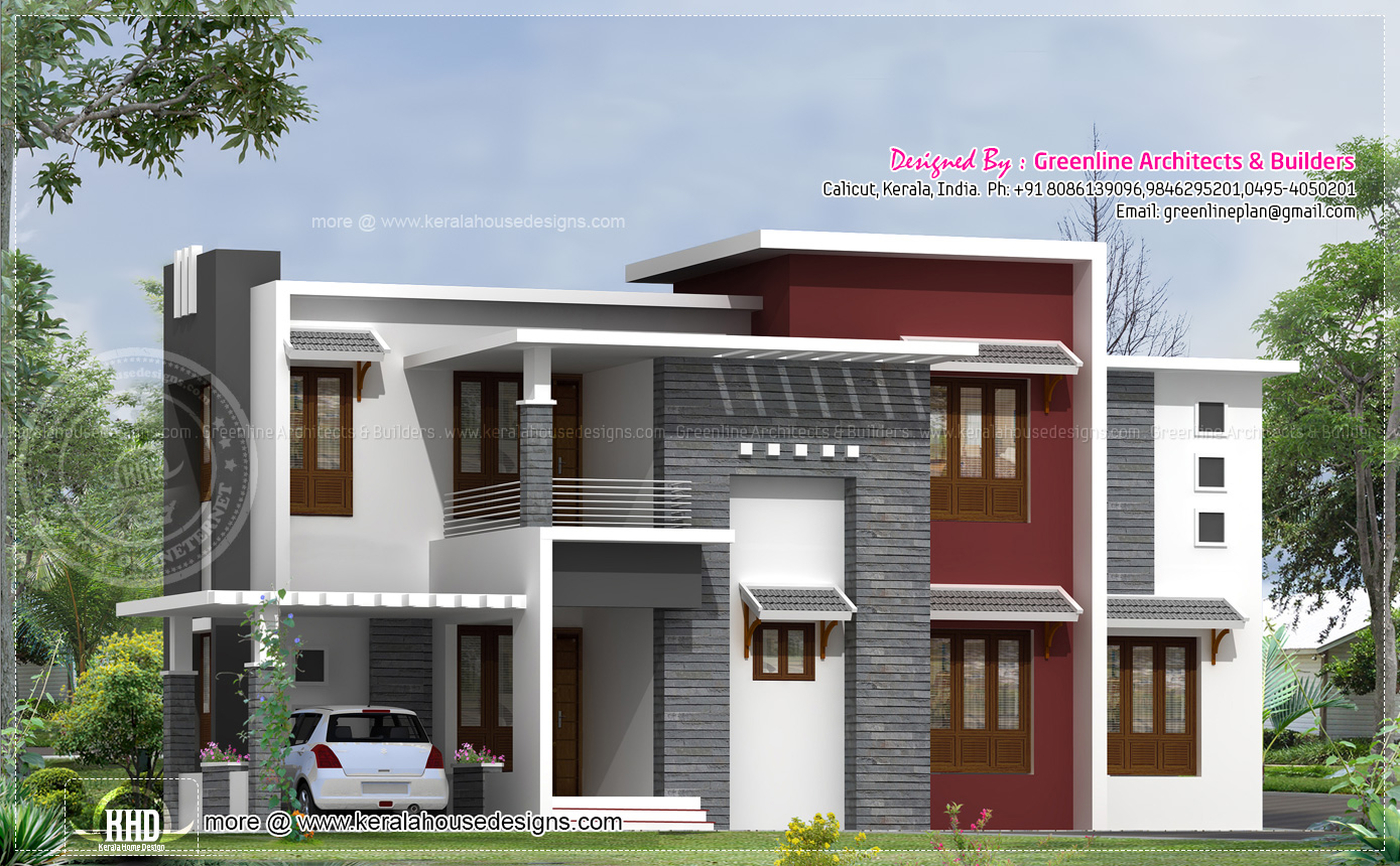 2540 square feet contemporary house design home kerala plans for Modern indian house plans