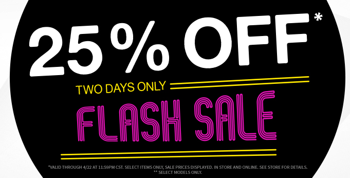 Graphic reads: 25% off, two days only. Flash sale!
