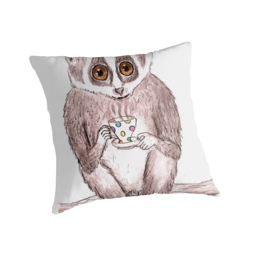 slow down loris throw pillow red bubble