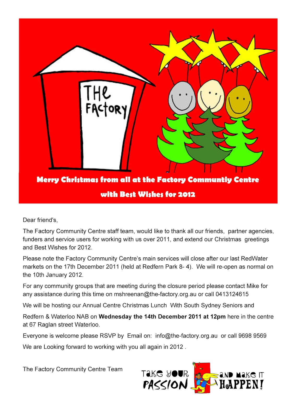Whats on the factory session greetings christmas party and session greetings christmas party and notice of holiday closure factory community centre spiritdancerdesigns Image collections