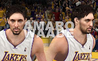 NBA2K12 LA Lakers Cyberface Patches Pau Gasol