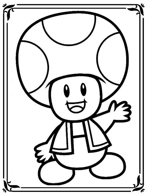 Mario mushroom coloring pages