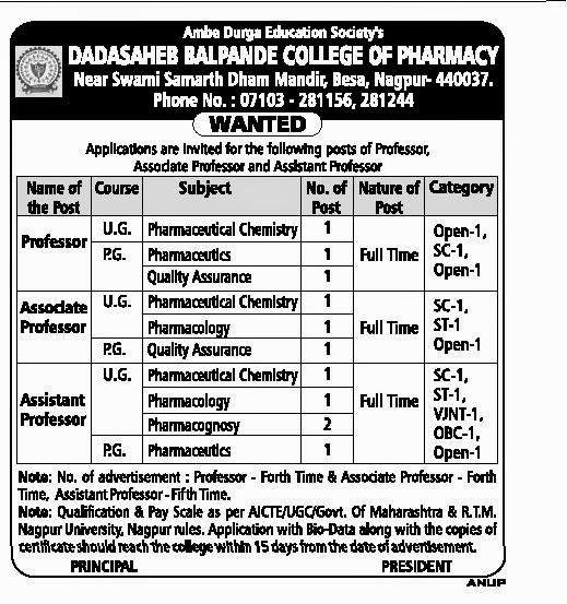 Pofessor,Associate professor,and Assistant  professor recruitment in Nagpur 2015