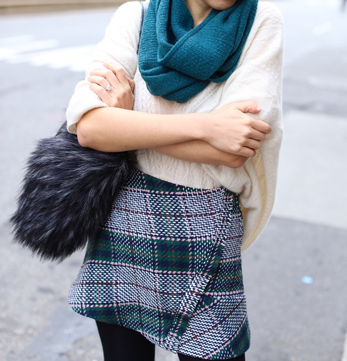 halogen teal deep cashmere scarf, chanel earrings, karen walker super duper sunglasses, quinn cashmere sweater, cocorocha botkier paris tote, tory burch simon over the knee boots, Over the knee boots, tweed plaid skirt, winter outfit, street style