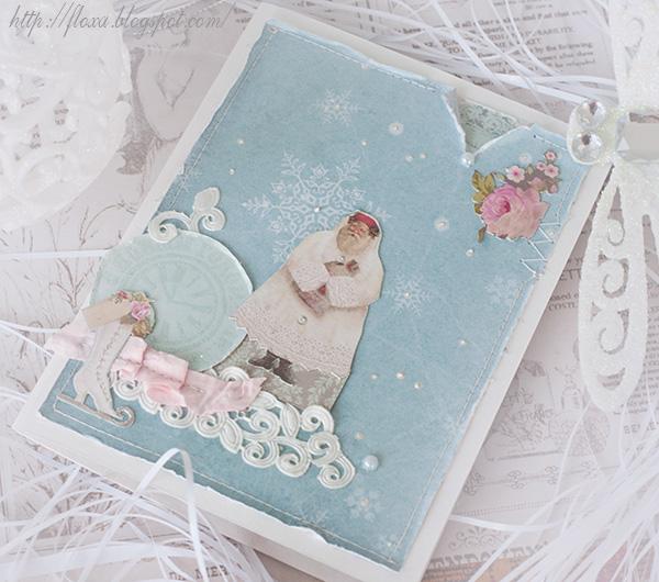 открытка новогодяя, открытка коньки,  открытка коньки кружево дед мороз часы цветы снег