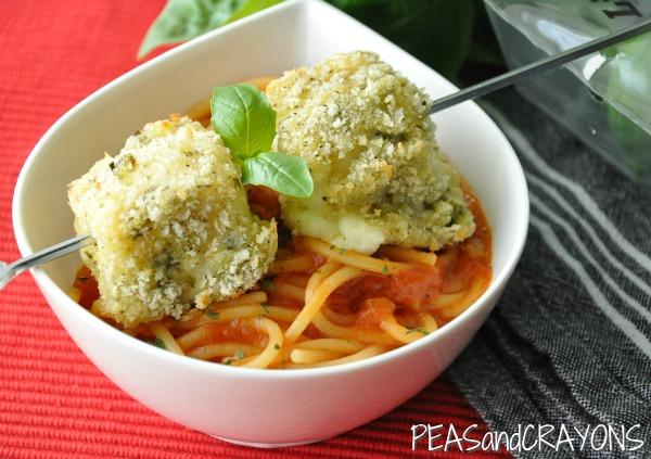 Basil Spaghetti and Baked Mozzarella Balls