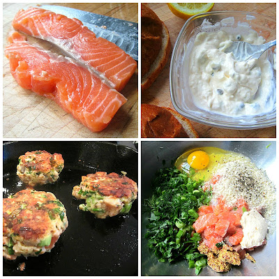 Best Salmon Burgers w/ Caper Mayo (adapted from Dinner with Julie ...