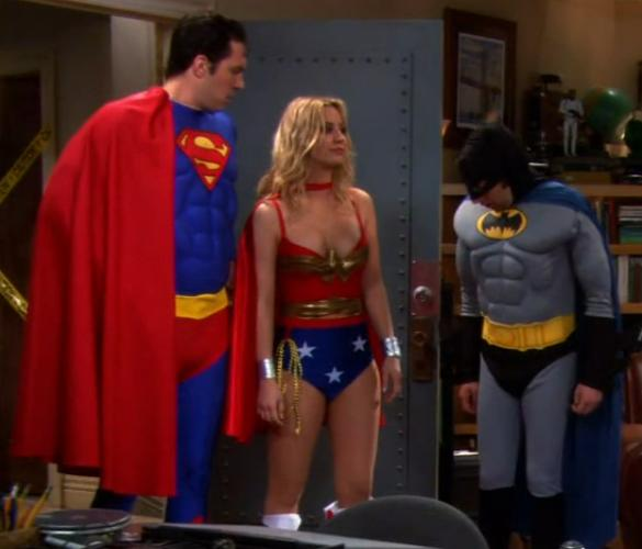 Kelly Cuoco in Wonder Woman costume for T.V. show The Big Bang Theory