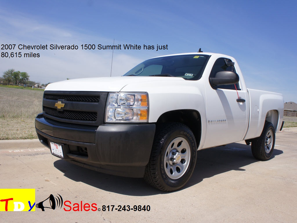For sale 2007 chevrolet silverado 1500 in summit white has just 80 615 miles tdy sales granbury texas dfw dealer mike brown auto dealership is that