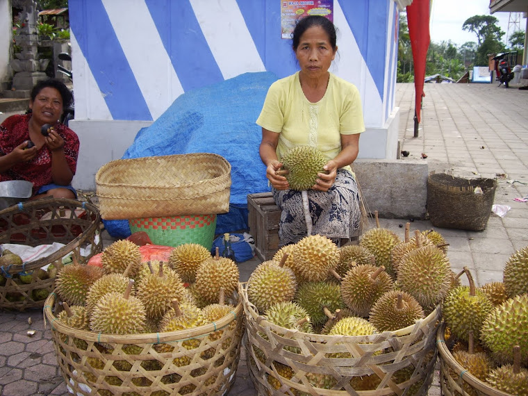 DURIAN FRUIT SELLER, BALI--A CONTROVERSIAL HEAVENLY FRUIT