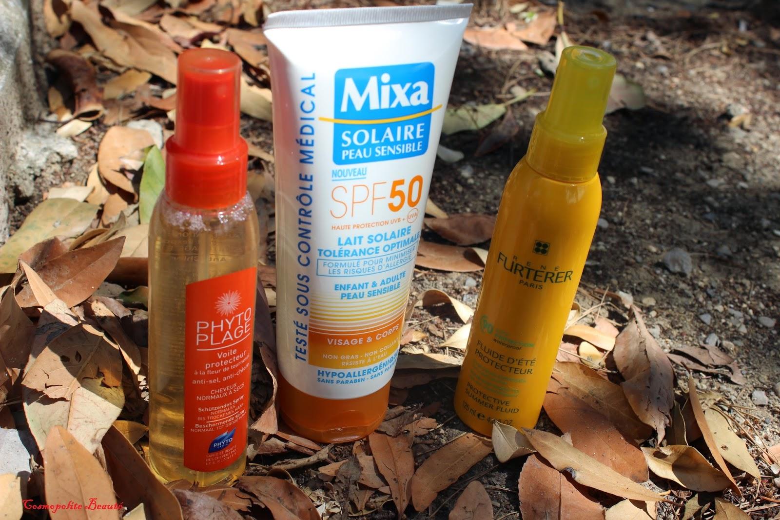 Mixa, produits solaires, cosmopolite beauté, protection solaire, indice de protection, Phyto Plage, Renée Furterer