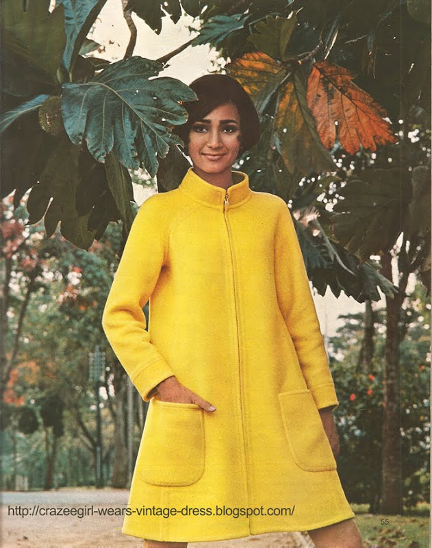 yellow dress coat FOUKS chez Réty 1967 60s 1960