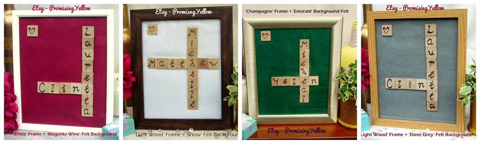 Bespoke etsy gifts. Not on the high street, totally unique. Woodburned calligraphy, monogrammed onto scrabble tiles. Pyrography gift.