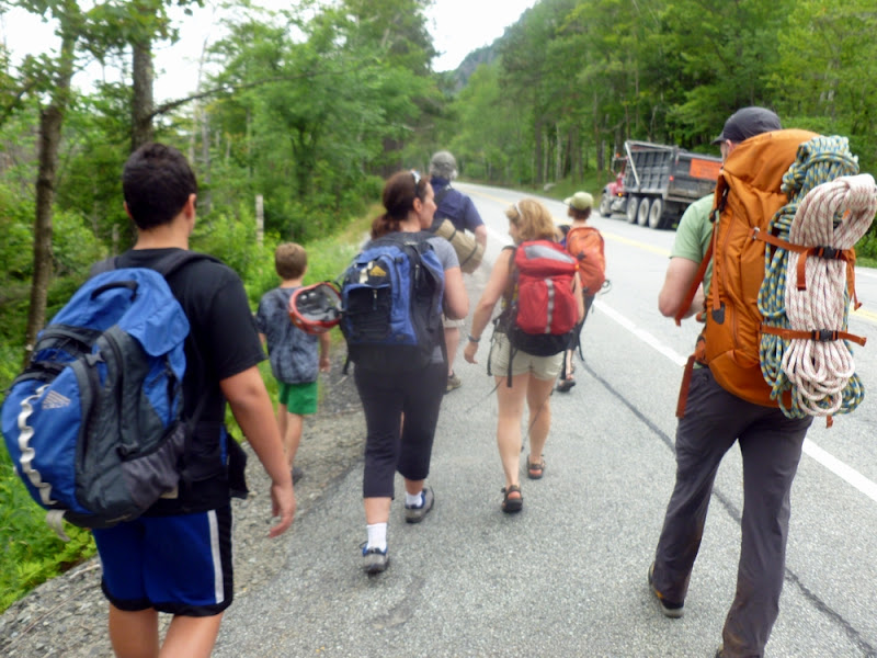 Our expanded group heads in from the Chapel Pond parking area.  The Saratoga Skier and Hiker, first-hand accounts of adventures in the Adirondacks and beyond, and Gore Mountain ski blog.
