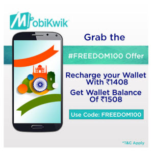 Mobikwik : Buy Rs. 1508 Mobikwik Wallet Balance for Rs. 1408 only