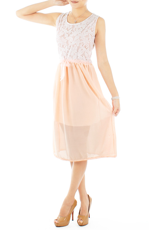 Peach Secret Garden Lace Dress with Chiffon Skirt
