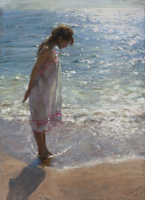 Vicente Romero pinturas mulheres impressionistas beleza Mulher molhando os pés na praia
