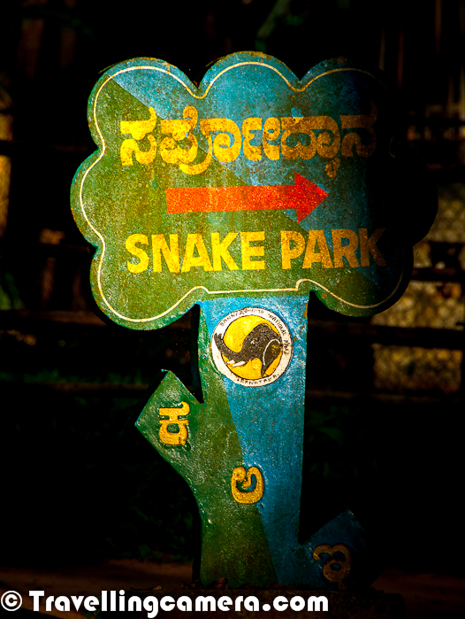 For last few days, we have been sharing Photo Journeys about Wildlife around Banglore City of India. So far we have shared two Photo Journeys on National Wildlife Park and Zoological Park at Bannerghatta. This Photo Journey shares some insights about Reptile/Snake Park inside Bannerghatta Zoological Park in Banglore. Let's start...Bannerghatta Zoological Park boasts an amazing reptile collection - a snake park lets you get up close and personal with the scaly, slithery creatures. Reptile Park is integral part of Bannerghatta Zoo in Banglore. Most of the snakes are kept inside small chambers surrounded by high walls of iron-net. All these chambers have natural setup with rocks, grass and trees. Some of the tree-branches were coming out of the chambers which were alarming for me, as snakes can easily climb up and jump down to get out of these chambersThis Reptile Park is spread over a huge area inside Zoo and signboards are placed all around to direct towards different types of snakes. This one is trying to direct us towards right for seeing King Cobra at Bannerghatta Zoological Park.Most of the snakes inside this park were seemed very lazy and probably these restrictions to be inside a specific boundary is extremely boring for them. It's not very simple to locate these snakes inside the chamber, because of lot of grass, rocks all around. Some of the chambers have more than 5 snakes, but it was hard to locate them on tree branches, inside holes, crawling under the grass etc... Locating snakes inside a particular chamber was an interesting task in itself.Snake Park  of Bannerghatta Zoo in Banglore is one of the most populated region inside Wildlife boundaries of Bannerghatta, BangloreHere is one of the videos showing dancing snakes inside Bannerghatta Zoological Park, Banglore, Karnataka, India !!!