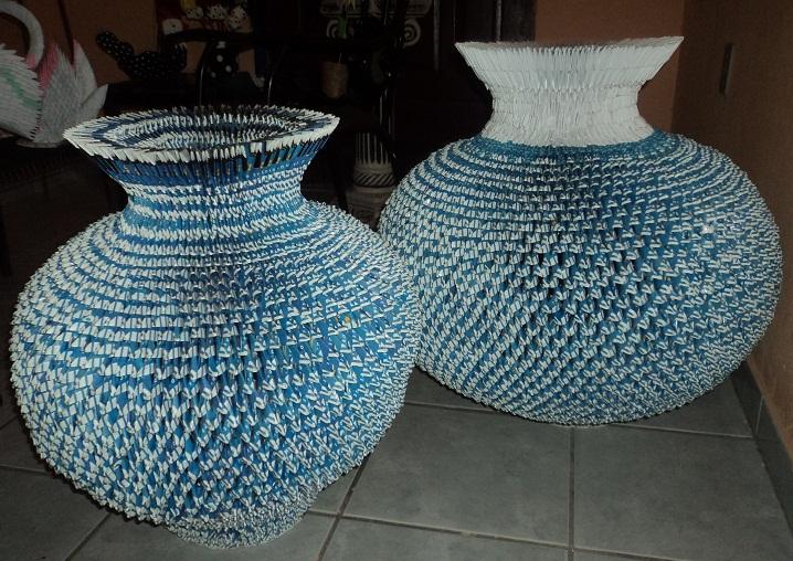 Artesanato De Palha Historia ~ Artesanato,Origami e Bijouterias Vasos de Origami 3D