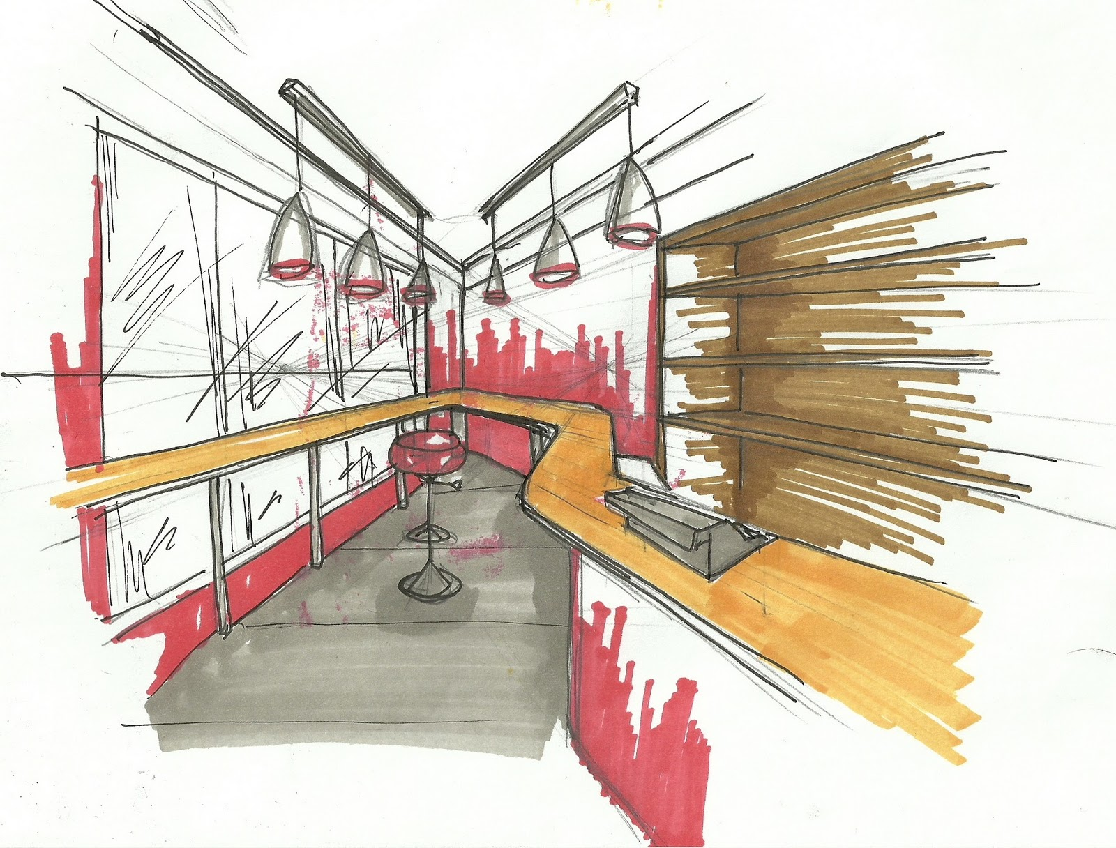interior design my sketches for current project milk bar - Interior Design Sketches