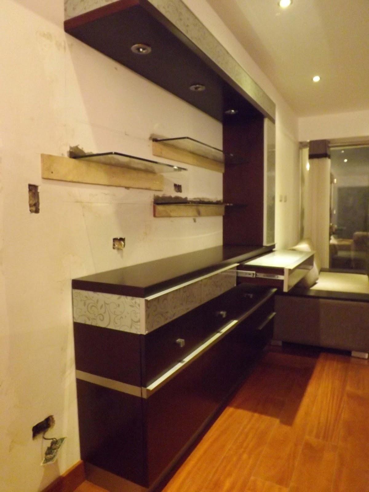 Oniria obra en proceso mueble bar instalado en departamento for Muebles de departamento