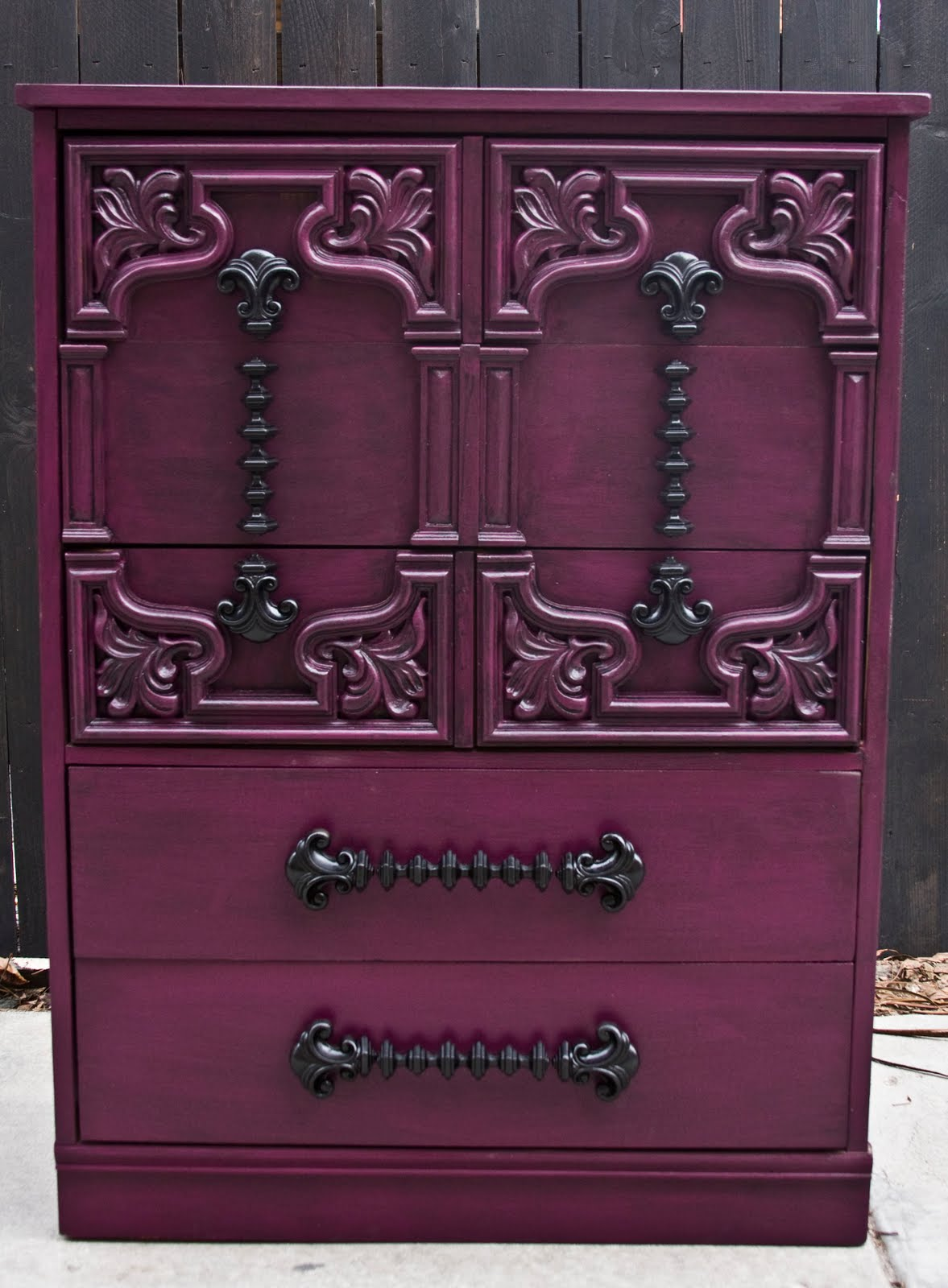 Modernly Shabby Chic Furniture Purple And Black Highboy
