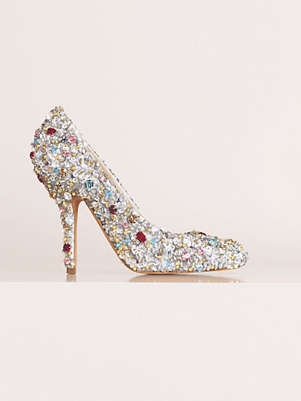 Celine silver embroidered pumps