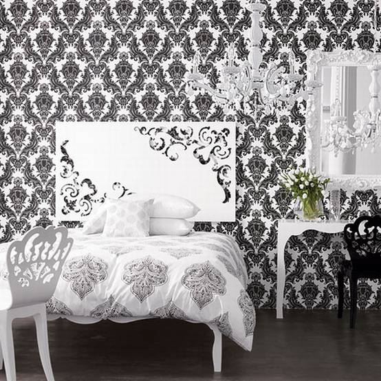 Fresh decor black and white wallpaper decor for stylish room for Black white damask wallpaper mural