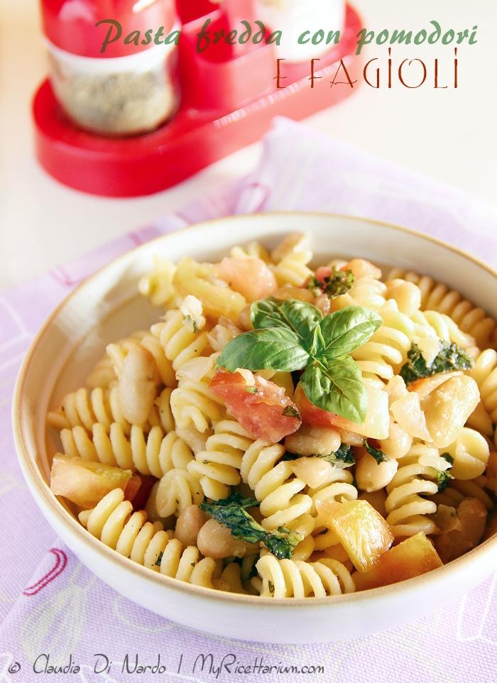 Pasta fredda con pomodori e fagioli